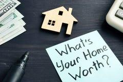 Che cosa è il vostro valore domestico? Costo della proprietà fotografia stock