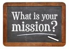 Che cosa è la vostra domanda di missione sulla lavagna Fotografia Stock
