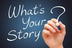 Che cosa è la vostra storia scritta a mano con l'indicatore bianco Immagine Stock Libera da Diritti