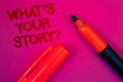 Che cosa concettuale \ 'di rappresentazione di scrittura della mano S la vostra domanda di storia Il testo della foto di affari s immagini stock