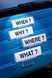 Che cosa dove perché quando? Fotografia Stock