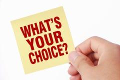 Che cosa è la vostra scelta Immagini Stock