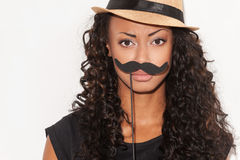 Che cosa pensate dei miei baffi? fotografia stock libera da diritti