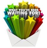 Che cosa state aspettando le parole delle stelle della busta Immagine Stock