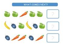 Che cosa viene gioco educativo seguente dei bambini La scheda di attività dei bambini, logica di formazione, continua la fila con illustrazione di stock