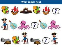 Che cosa viene gioco educativo seguente per i bambini Metta dell'illustrazione di vettore dei caratteri del pirata del fumetto royalty illustrazione gratis