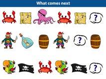 Che cosa viene gioco educativo seguente per l'insieme dei bambini dei caratteri del pirata del fumetto Illustrazione di vettore royalty illustrazione gratis