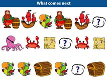 Che cosa viene gioco educativo seguente per l'insieme dei bambini dei caratteri del pirata del fumetto Illustrazione di vettore illustrazione vettoriale