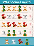 Che cosa viene gioco seguente di attività educativa per i bambini in età prescolare con gli animali illustrazione vettoriale