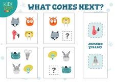 Che cosa viene gioco seguente per l'illustrazione di vettore dei bambini in età prescolare royalty illustrazione gratis