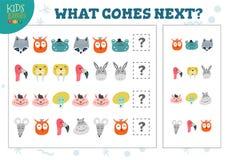 Che cosa viene illustrazione educativa di vettore del gioco dei bambini seguenti illustrazione di stock