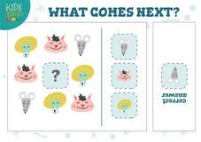 Che cosa viene illustrazione seguente di vettore di attività educativa dei bambini royalty illustrazione gratis