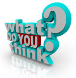 Che cosa voi pensano la domanda di scrutinio di indagine Fotografia Stock Libera da Diritti