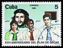 Che Guevara, estudiantes, programa de la beca, 25to serie del aniversario, circa 1986 imágenes de archivo libres de regalías