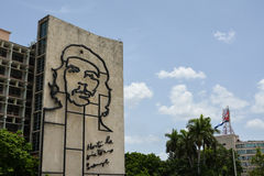 Che Guevara, Havana. Ministry of the Interior building with face of Che Guevara located in Revolution Square, Cuba stock photography