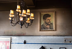 Che Guevara portrait in New Zealand. Wellington, New Zealand - February 10, 2017: A portrait of the Che Guevara on a wall of an Argentinian restaurant Royalty Free Stock Images