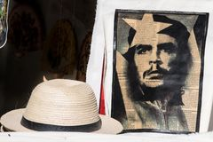 Che Guevara Print on newspaper, Cuban straw hat, Havana stock images