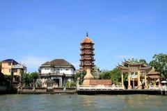 Che podbródka Khor świątynia i Chao phraya rzeka w Bangkok zdjęcie royalty free