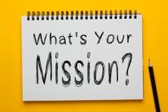 Che ` s la vostra missione fotografie stock libere da diritti
