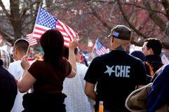 Che und amerikanische Flagge Stockbilder