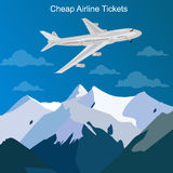 Cheap airline tickets concept, vector illustration. Vector illustration of cheap airline tickets concept Royalty Free Stock Photo