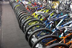 Cheap bicycle promotion and sale in International Bangkok Bike 2018 largest bicycle or bike expo fair. In Bangkok, Thailand 6 May 2018 stock photography
