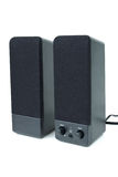 Cheap black computer speakers Royalty Free Stock Photo