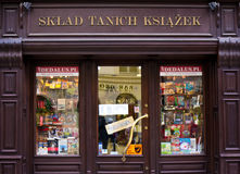 Cheap Books Store in Cracow Stock Images