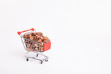 Cheap cart. Eurocents in a shopping cart Stock Image