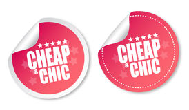Cheap & Chic stickers Stock Image