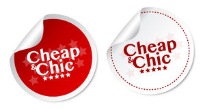 Cheap and Chic stickers Stock Images
