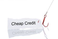 Cheap Credit Paper Trapped In Fishhook Stock Photos