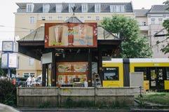 Cheap Döner Kebap food store. BERLIN, GERMANY - JUNE 15, 2017: Cheap Döner Kebap food store on store in central Berlin Prenzlauer Berg Royalty Free Stock Photos