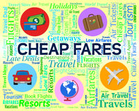 Cheap Fares Represents Sale Discount And Offer. Cheap Fares Showing Low Cost And Cheaper vector illustration