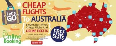 Cheap Flight To Australia 1500x600 Banner. Royalty Free Stock Photo
