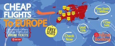 Cheap Flight To Europe 1500x600 Banner. Stock Photos