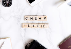 Cheap flight travel text poster for travel. Agency Stock Image