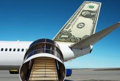 US Dollar on plane. Cheap flight. Royalty Free Stock Photo