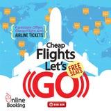 Cheap Flights  Advertising Banner. Stock Photos