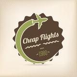 Cheap flights badge Stock Photo