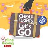 Cheap Flights Banner. Stock Photos