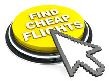 Cheap flights button. A button reading find cheap flights, in yellow color, mouse cursor hovering above against a white background royalty free illustration