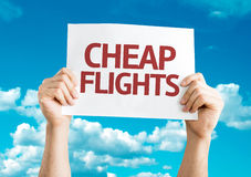 Cheap Flights card with sky background Royalty Free Stock Images
