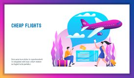 Cheap flights concept. Plane is flying in the clouds. Low cost flights. Cheap flights concept. Modern vector illustration vector illustration