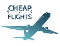 Cheap flights illustration. Silhouette of flying airplane on white background. Travel offers. stock illustration