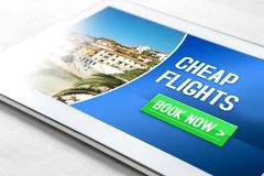 Cheap flights for sale on internet Stock Image