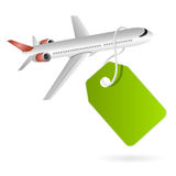 Cheap flights sales tag Stock Photo
