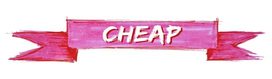 Cheap ribbon. Cheap hand painted ribbon sign stock illustration