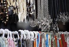 Cheap jewelry at marketplace stock photo