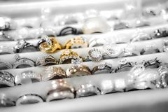 Cheap jewelry for women made of base metals stock images